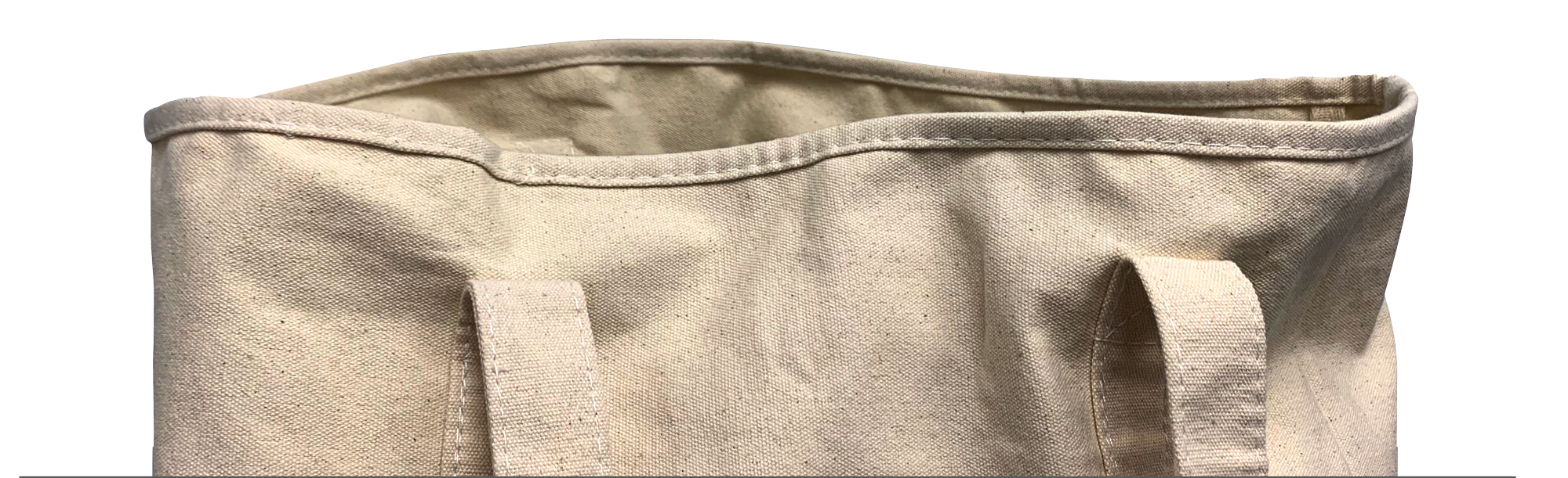 Picture of the top of a canvas tote bag